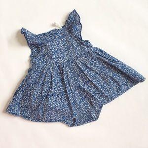 H&M Blue Floral Flare Dress Onesie